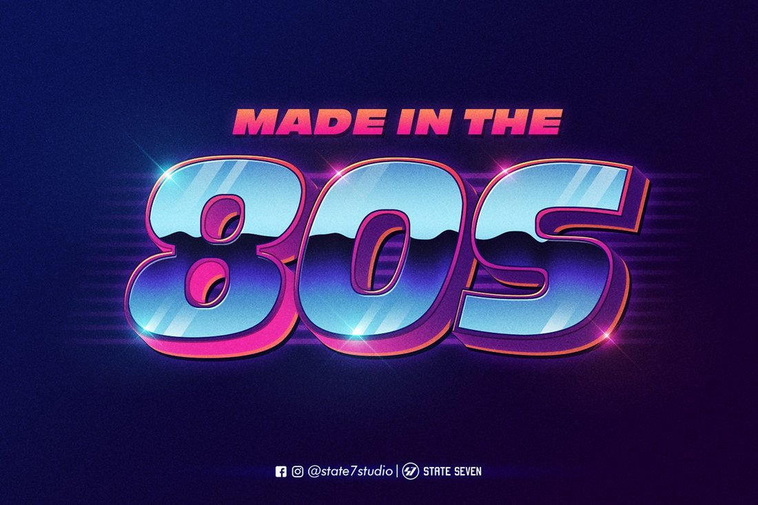 Free Retro 80s Text Effect