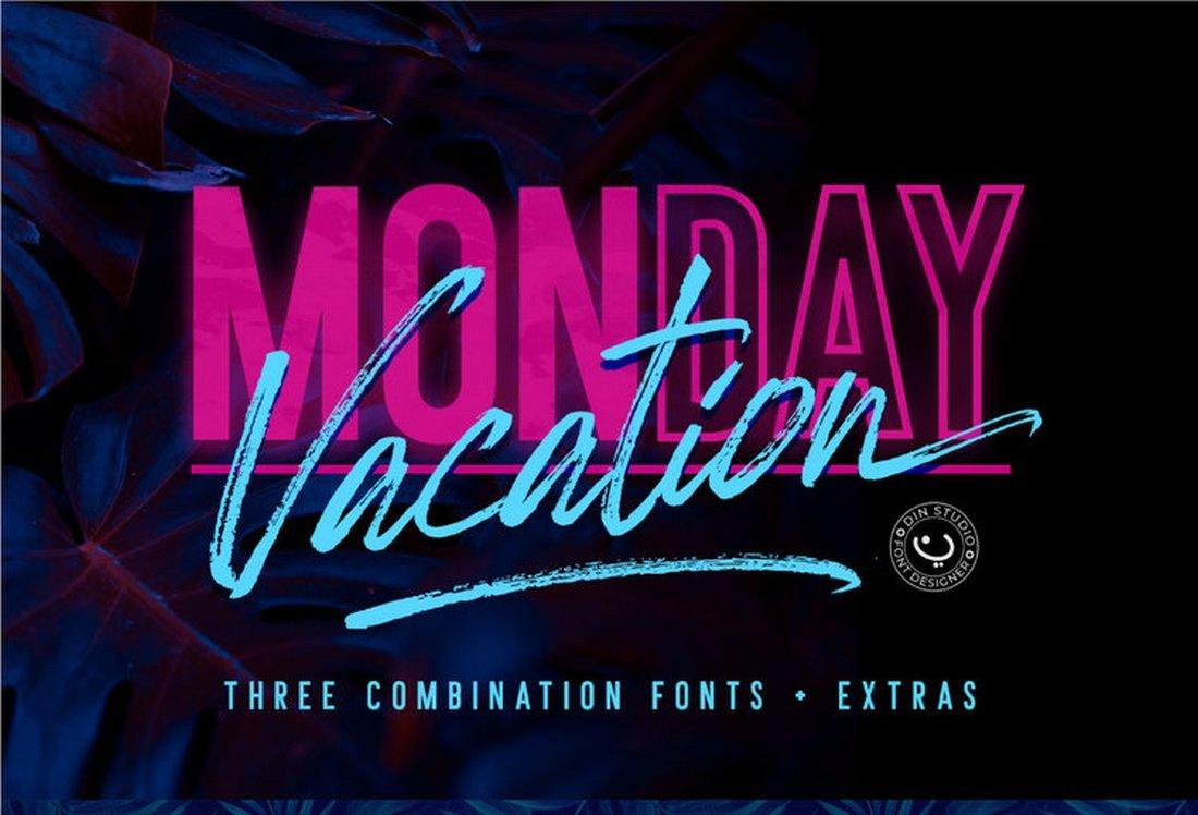 Monday Vacation - Free Font Duo