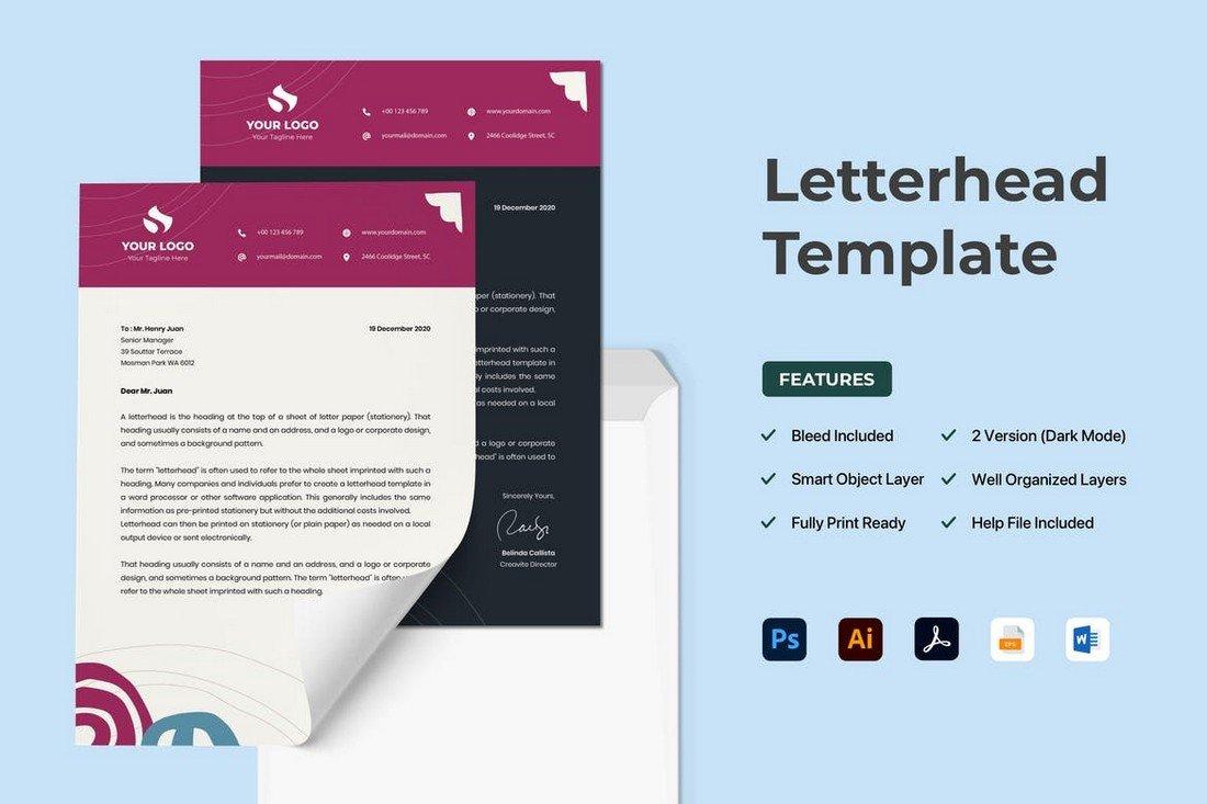 Pastel Color Letterhead Design Template