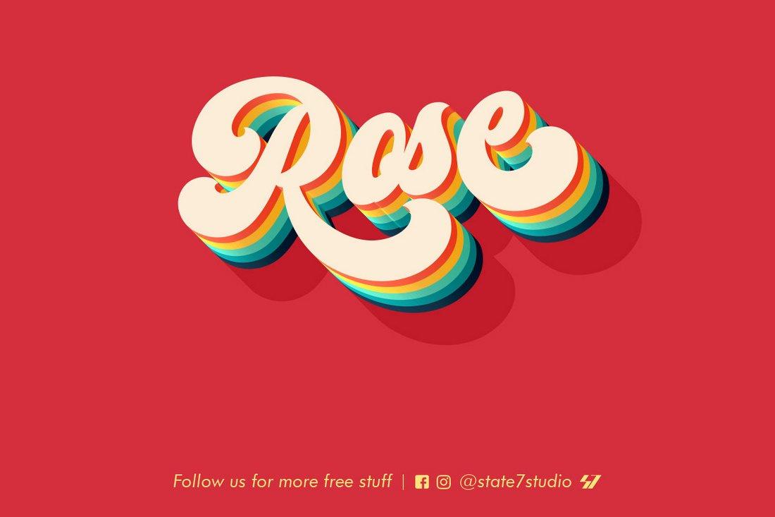Rose - Free Retro Text Effect