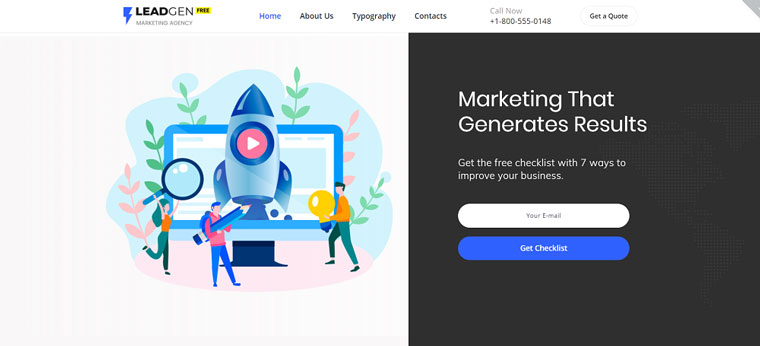Free HTML5 Theme for Marketing Agency Website Template.