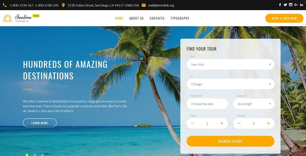 Free Responsive HTML5 Theme for Travel Agency Website Template